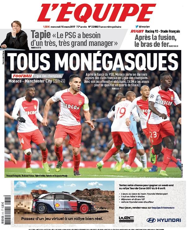 L'Equipe Du Mercredi 15 Mars 2017