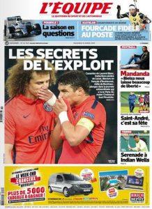 L'Equipe Du Vendredi 13 Mars 2015