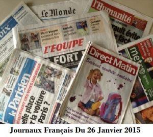 Journaux Français Du 26 Janvier 2015