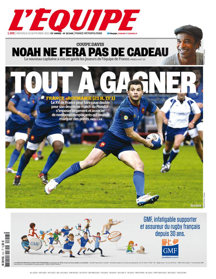 L'Equipe Du Mercredi 23 Septembre 2015