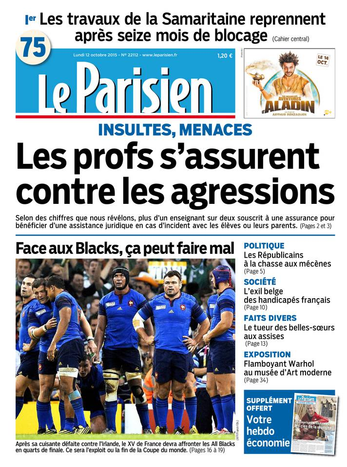 Le Parisien + Journal De Paris Du Lundi 12 Octobre 2015