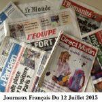 Journaux Français Du 12 Juillet 2015
