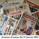 Journaux Français Du 15 Janvier 2015