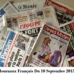 Journaux Français Du 10 Septembre 2015