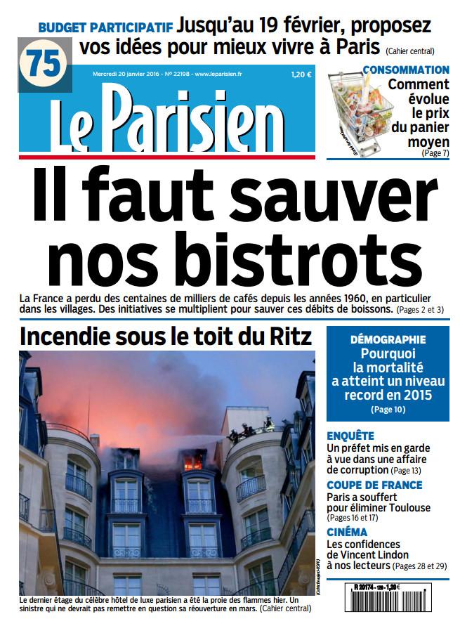 Le Parisien + Journal De Paris Du Mercredi 20 Janvier 2016
