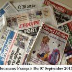 Journaux Français Du 07 Septembre 2015