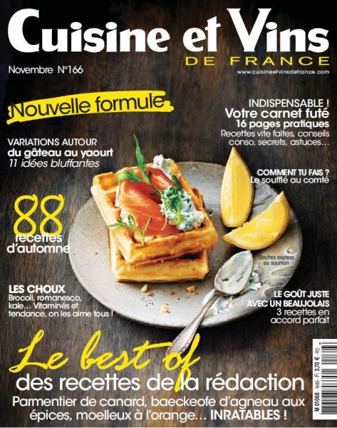 Cuisine et Vins De France N°166 – Novembre 2015