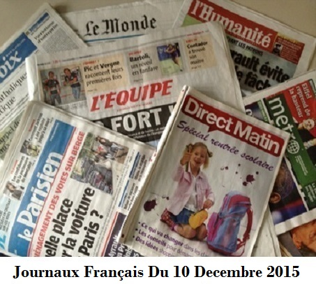 Journaux Français Du 10 Decembre 2015