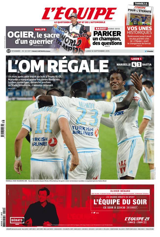 L'Equipe Du Lundi 14 Septembre 2015