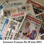 Journaux Français Du 20 Juin 2015
