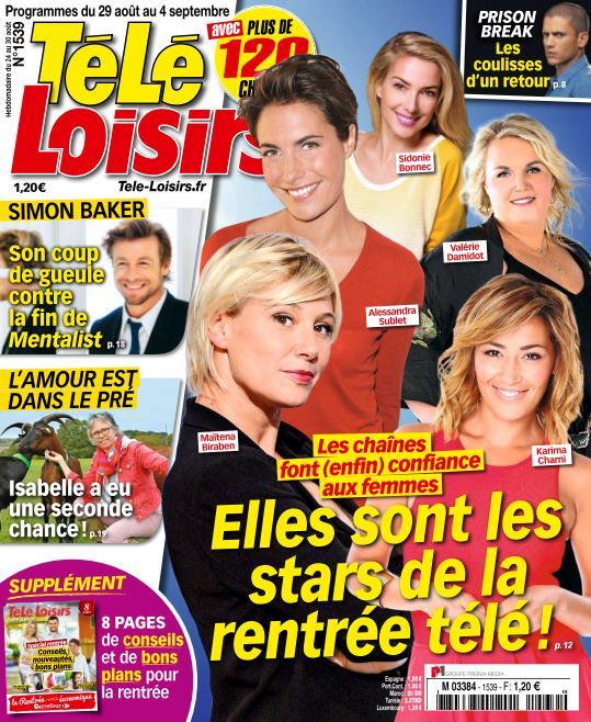 Télé Loisirs N°1539 Du 29 Aout au 4 Septembre 2015