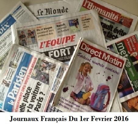 Journaux Français Du 1er Fevrier 2016