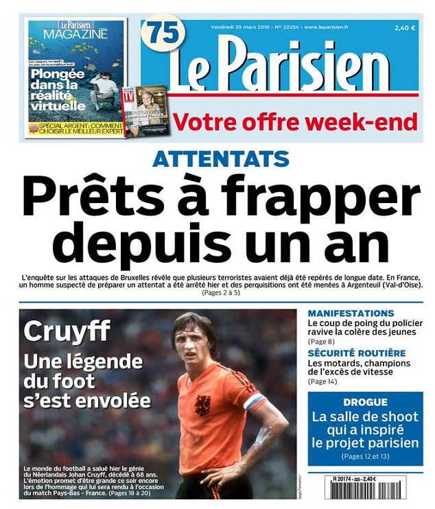 Le Parisien Du Vendredi 25 Mars 2016