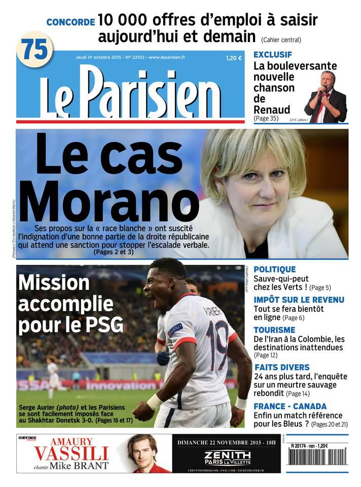 Le Parisien + Journal De Paris Du Jeudi 1er Octobre 2015