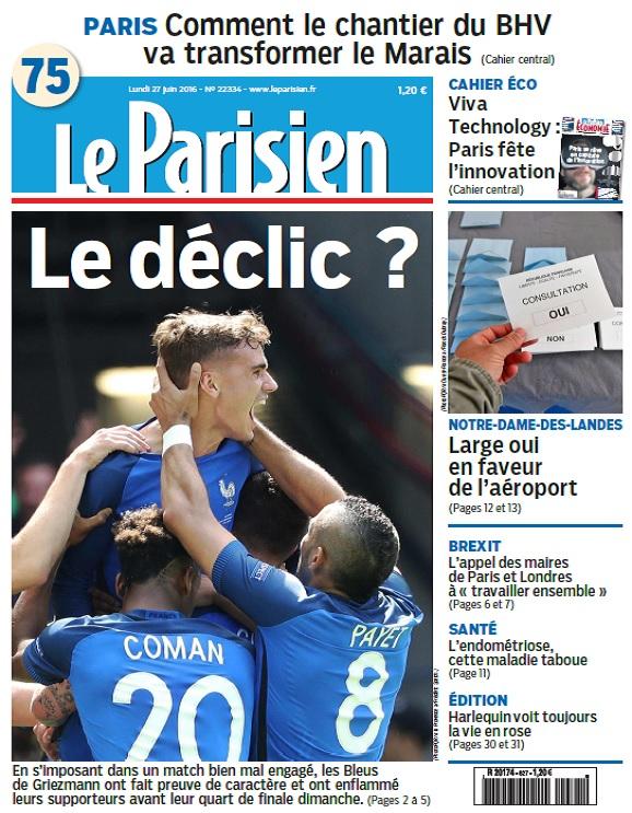 Le Parisien + Journal De Paris Du Lundi 27 Juin 2016