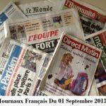Journaux Français Du 01 Septembre 2015