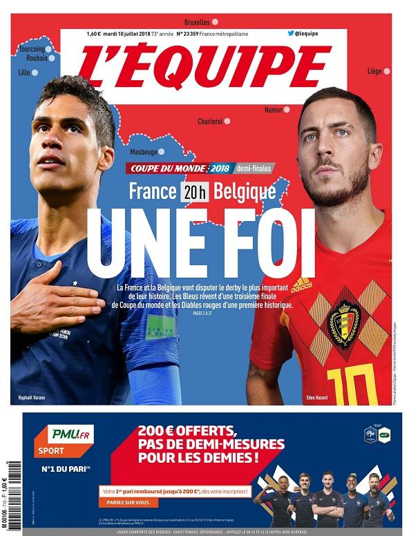 L'Equipe Du Mardi 10 Juillet 2018
