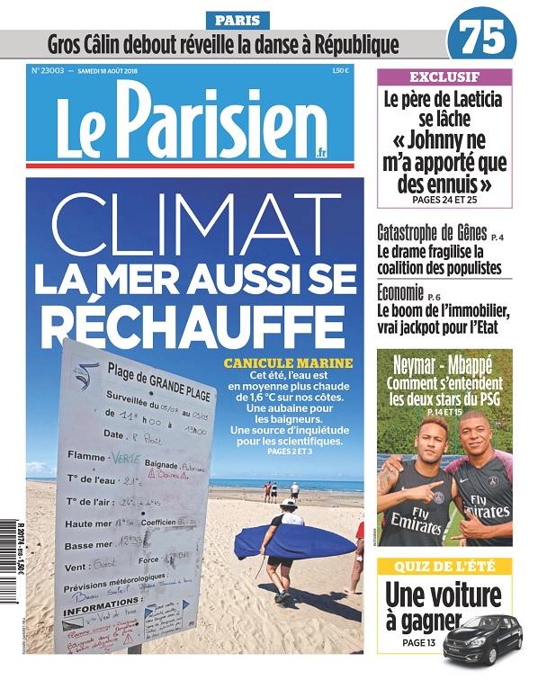 Le Parisien Du Samedi 18 Août 2018