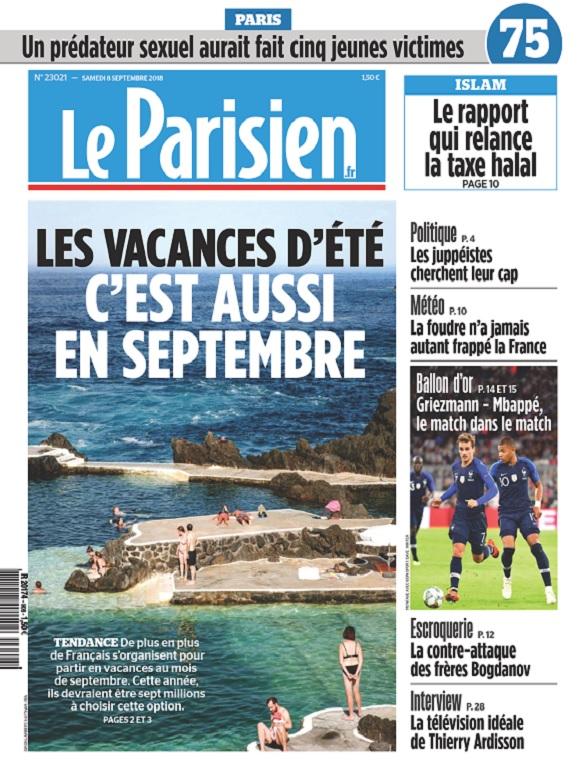 Le Parisien Du Samedi 8 Septembre 2018