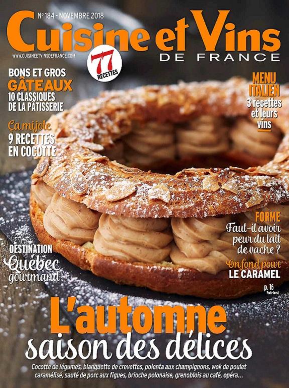 Cuisine et Vins De France N°184 – Novembre 2018