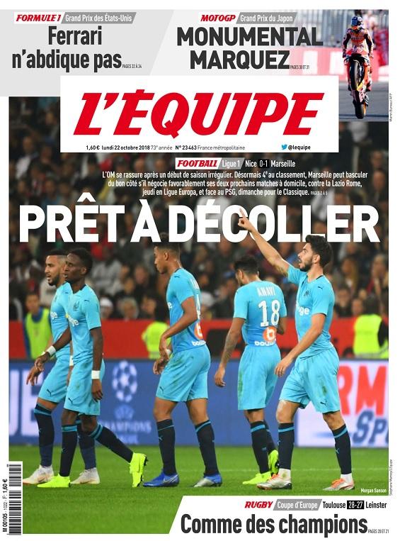 L'Equipe Du Lundi 22 Octobre 2018