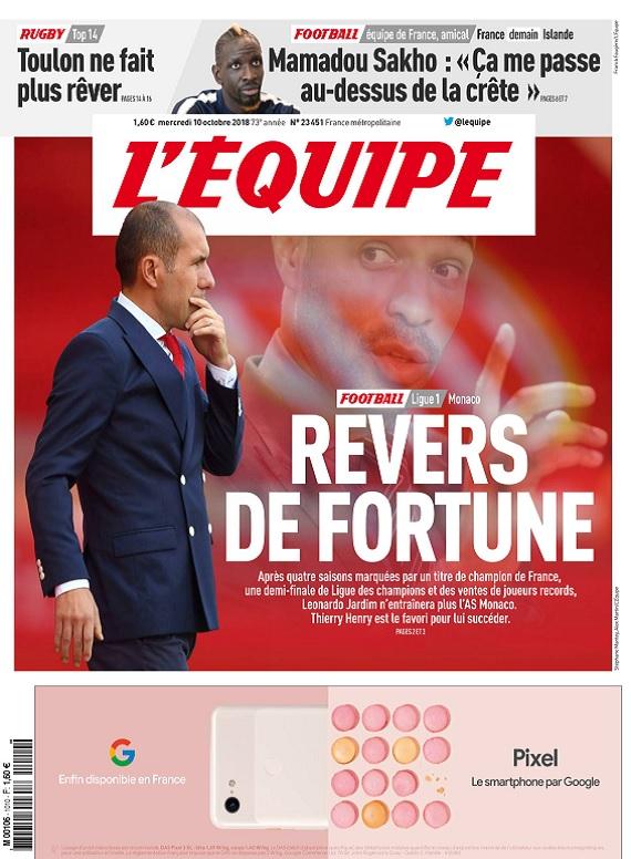 L'Equipe Du Mercredi 10 Octobre 2018