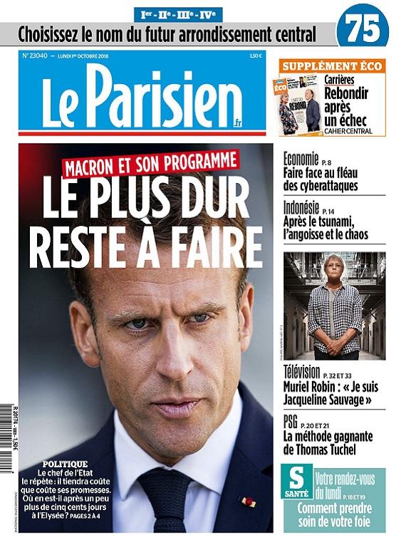Le Parisien Du Lundi 1er Octobre 2018