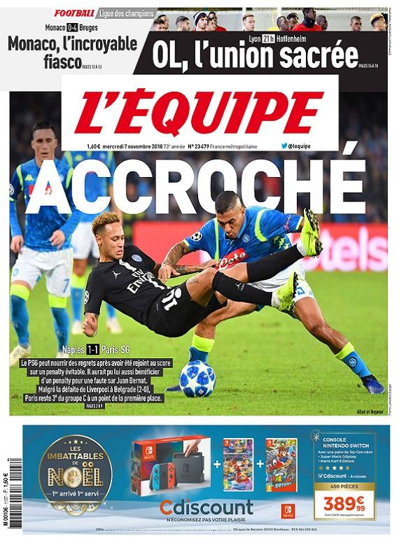 L'Equipe Du Mercredi 7 Novembre 2018