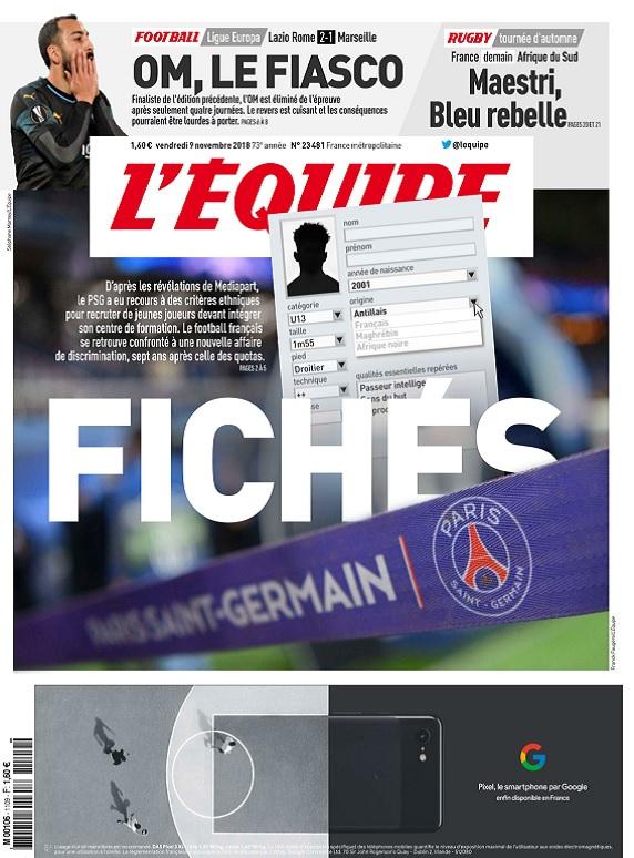 L'Equipe Du Vendredi 9 Novembre 2018