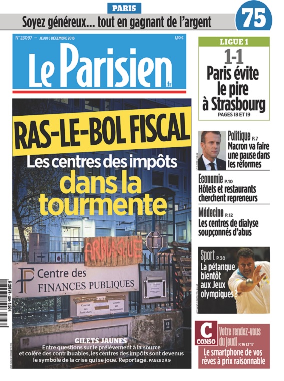 Le Parisien Du Jeudi 6 Décembre 2018