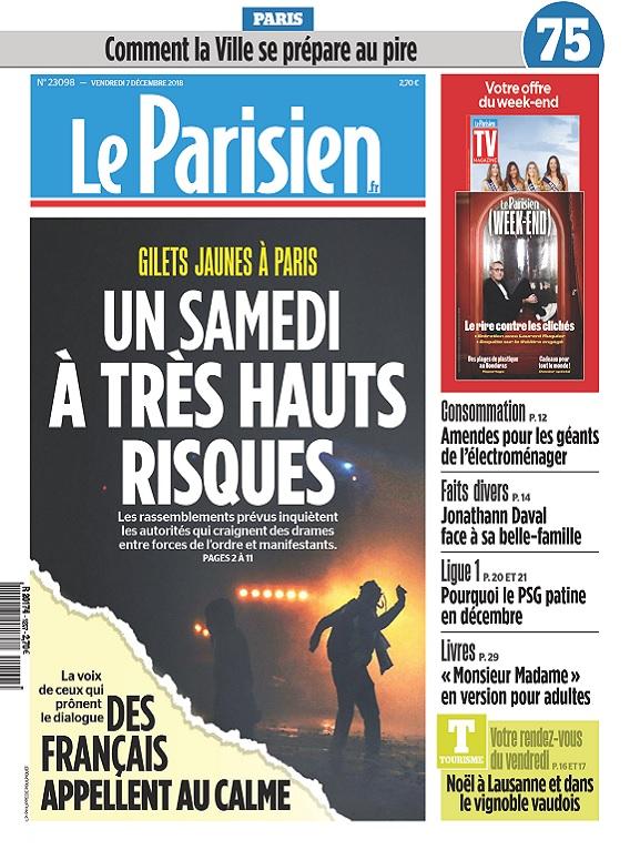 Le Parisien Du Vendredi 7 Décembre 2018
