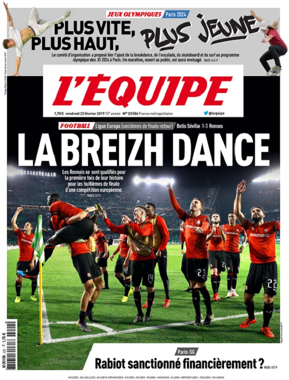 L'Equipe Du Vendredi 22 Février 2019