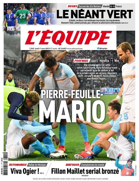 L'Equipe Du Lundi 11 Mars 2019
