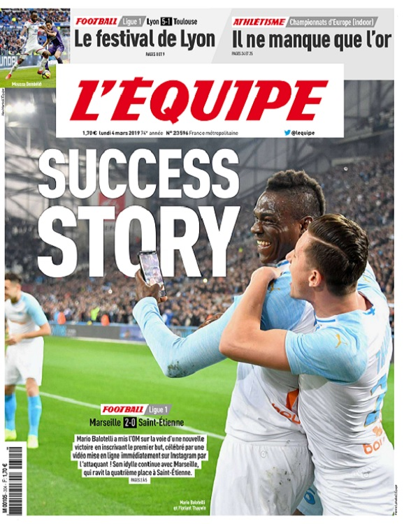 L'Equipe Du Lundi 4 Mars 2019