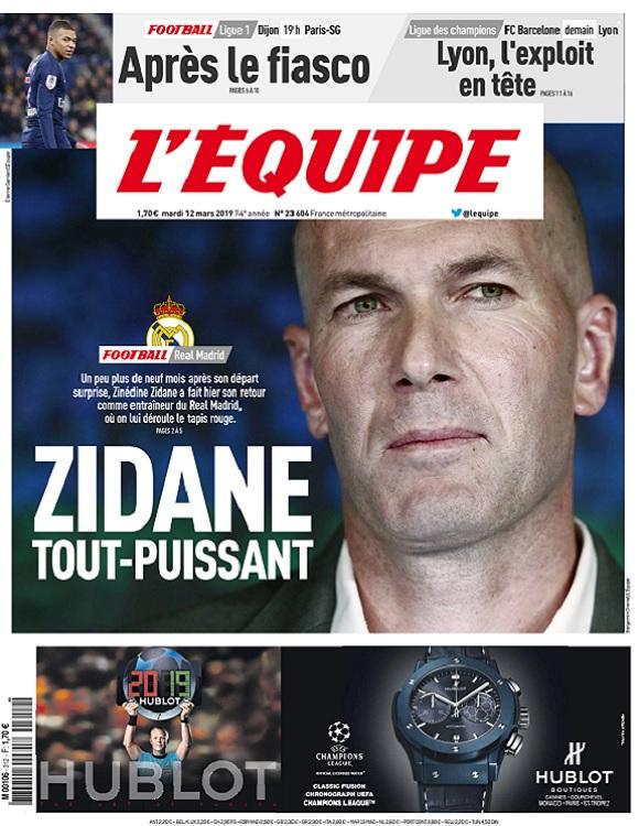 L'Equipe Du Mardi 12 Mars 2019