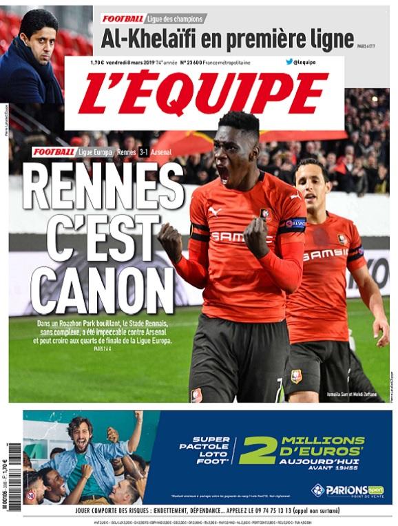 L'Equipe Du Vendredi 8 Mars 2019