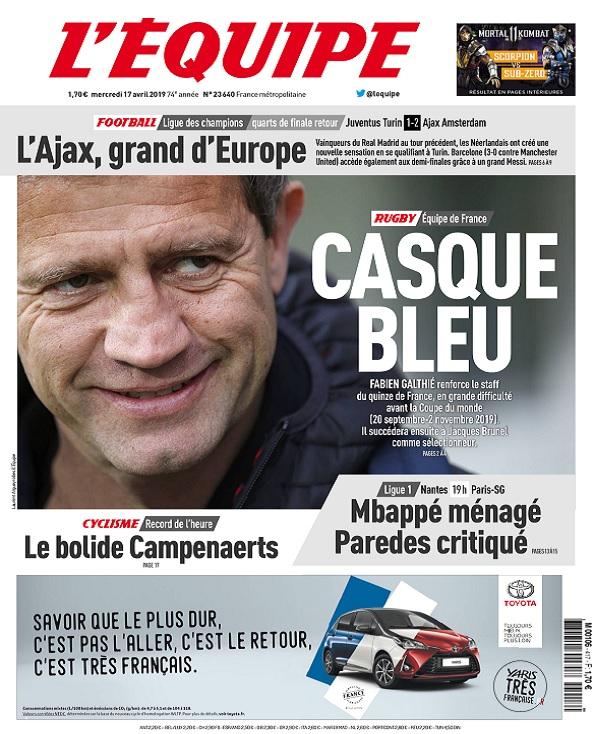 L'Equipe Du Mercredi 17 Avril 2019