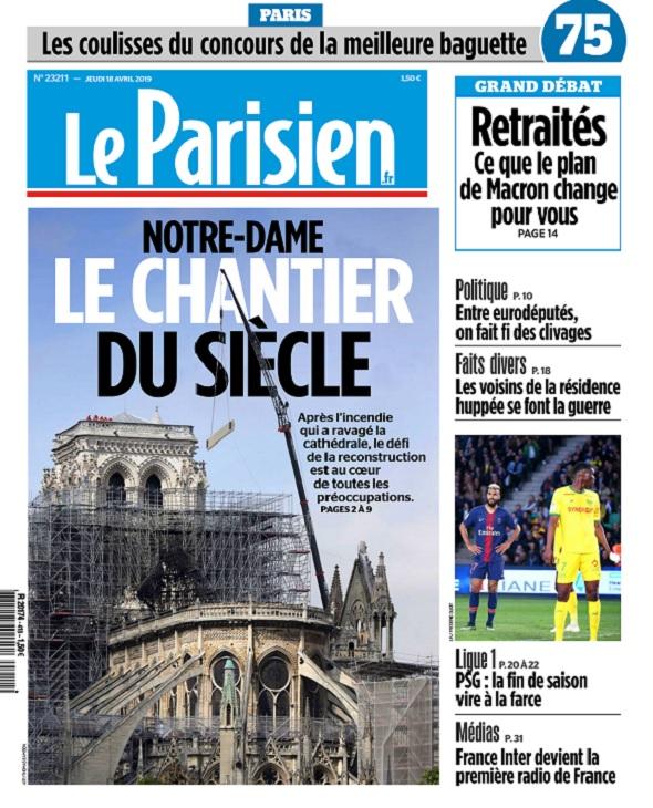 Le Parisien Du Jeudi 18 Avril 2019