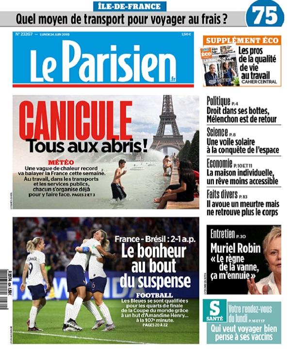 Le Parisien Du Lundi 24 Juin 2019