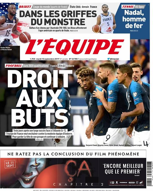 L'Equipe Du Mardi 10 Septembre 2019