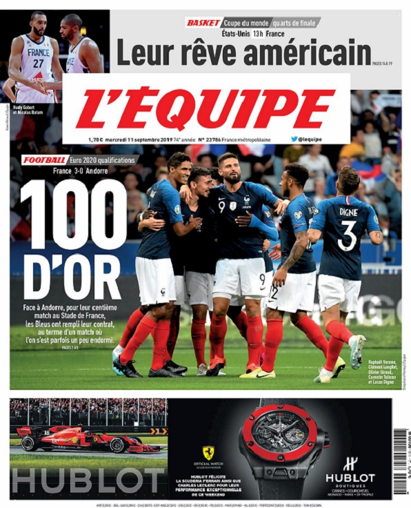 L'Equipe Du Mercredi 11 Septembre 2019