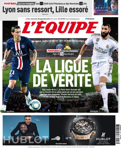 L'Equipe Du Mercredi 18 Septembre 2019