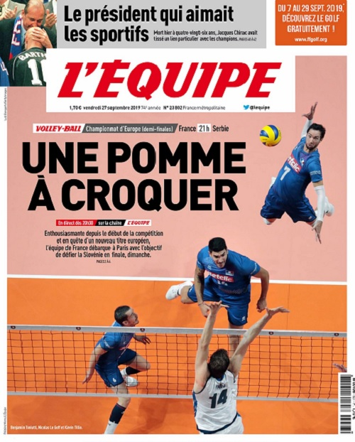 L'Equipe Du Vendredi 27 Septembre 2019