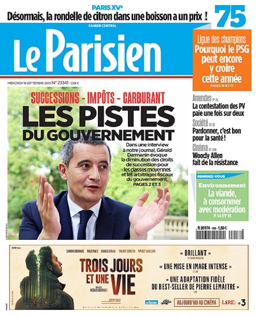 Le Parisien Du Mercredi 18 Septembre 2019