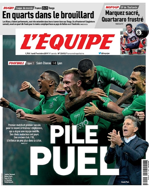 L'Equipe Du Lundi 7 Octobre 2019