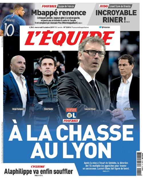 L'Equipe Du Mercredi 9 Octobre 2019