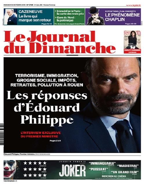 Le Journal Du Dimanche N°3795 Du 6 Octobre 2019