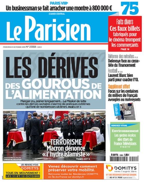 Le Parisien Du Mercredi 9 Octobre 2019