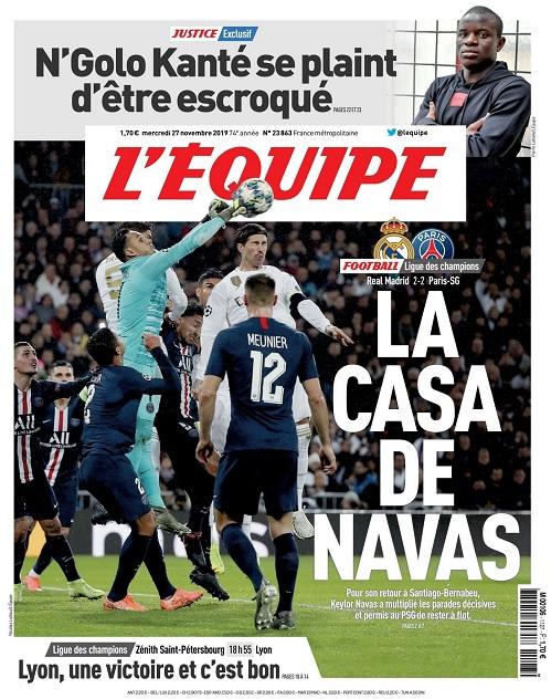 L'Equipe Du Mercredi 27 Novembre 2019