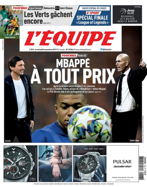 L'Equipe Du Vendredi 8 Novembre 2019